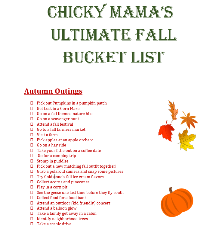 Ultimate Fall List